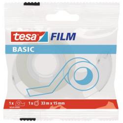 Taśma samoprzylepna Tesa Basic 15mm/33m z dyspenserem - przezroczysta