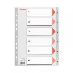 Przekładki plastikowe Esselte A4 numeryczne 1-6 - szare