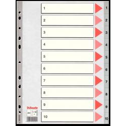 Przekładki plastikowe Esselte A4 numeryczne 1-10 - szare