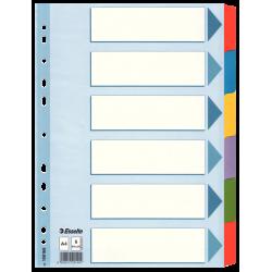 Przekładki kartonowe Esselte Mylar A4 6 kart z laminowanymi indeksami