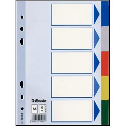 Przekładki plastikowe Esselte A5 - 5 kart