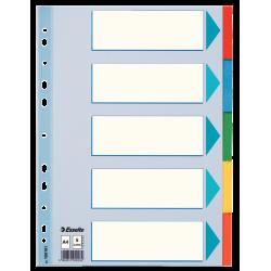 Przekładki kartonowe Esselte A4 kolorowe  - 5 kart