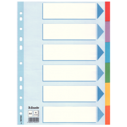 Przekładki kartonowe Esselte A4 kolorowe - 6 kart