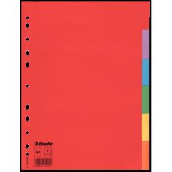 Przekładki kartonowe Esselte bez karty opisowej A4 kolorowe  - 6 kart