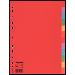 Przekładki kartonowe Esselte bez karty opisowej A4 kolorowe  - 12 kart
