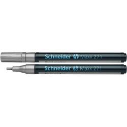 Marker olejowy Schneider MAXX 271 okrągły, 1-2 mm - srebrny