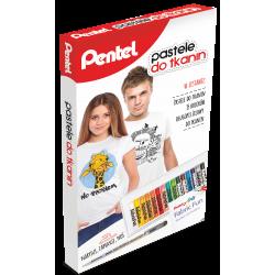 Kredki pastele do tkanin Pentel zestaw mini - 15 kolorów + długopis żelowy
