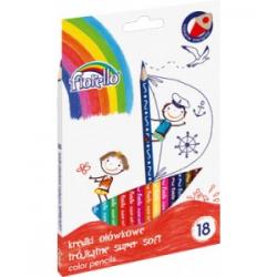 Kredki ołówkowe trójkątne Fiorello Super Soft - 18 kolorów