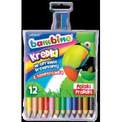 Kredki Bambino w oprawie drewnianej - 12 kolorów