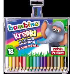 Kredki Bambino w oprawie drewnianej - 18 kolorów