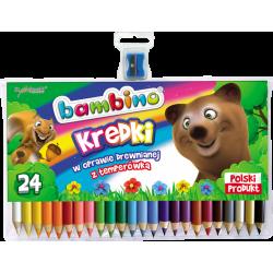 Kredki Bambino w oprawie drewnianej - 24 kolory