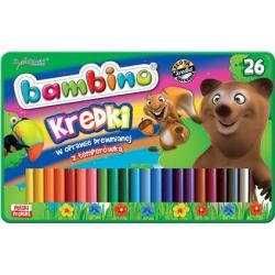 Kredki Bambino w oprawie drewnianej - 26 kolorów w metalowym pudełku