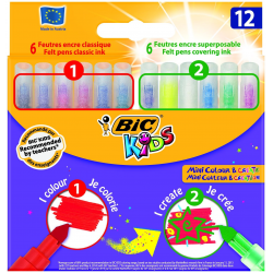 Pisaki Bic Kids Mini Colour & Create - 12 kolorów