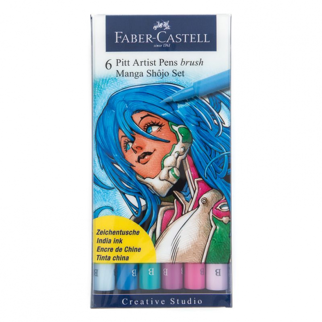 Pisaki artystyczne Faber Castell - PITT ARTIST PEN MANGA - Shojo - zestaw 6 szt