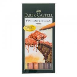 Pisaki artystyczne Faber-Castell - PITT ARTIST PEN B - TERRA - 6 kolorów