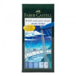 Pisaki artystyczne Faber-Castell - PITT ARTIST PEN B - SHADES OF BLUE - 6 kolorów
