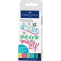 Pisaki artystyczne Faber Castell - PITT ARTIST PEN HAND LETTERING PASTEL - zestaw 6 szt