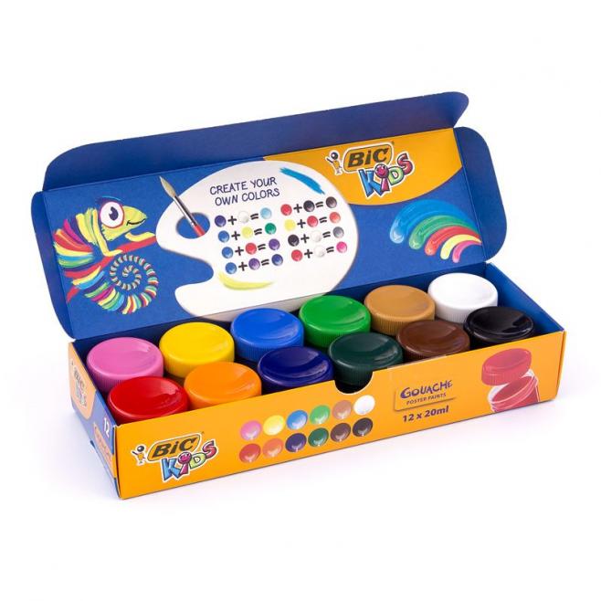 Farby plakatowe Bic Kids Gouache - 12 kolorów