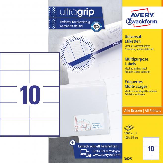 Trwałe etykiety uniwersalne A4 Avery Zweckform - 105x57mm /100 ark