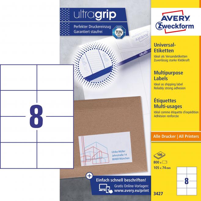 Trwałe etykiety uniwersalne A4 Avery Zweckform - 105x74mm /100 ark