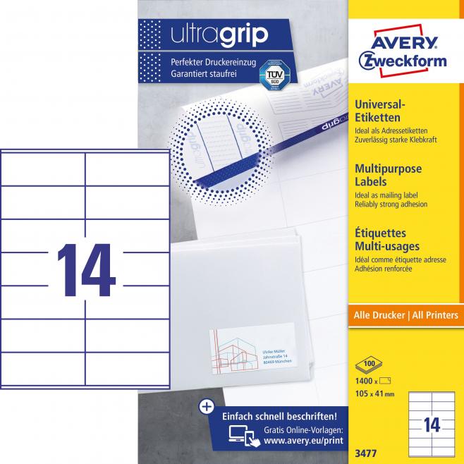 Trwałe etykiety uniwersalne A4 Avery Zweckform - 105x41mm /100 ark