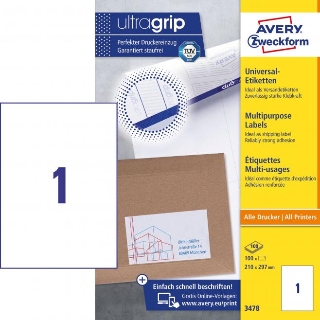Trwałe etykiety uniwersalne A4 - 210 x 297mm /100 ark