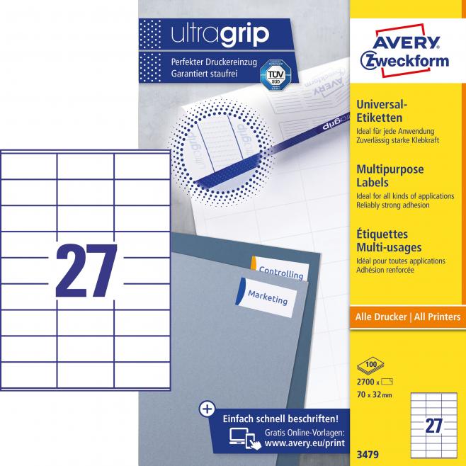Trwałe etykiety uniwersalne A4 Avery Zweckform - 70x32mm /100 ark
