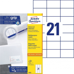 Trwałe etykiety uniwersalne A4 Avery Zweckform - 70 x 42,3mm /100 ark