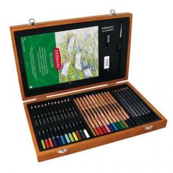 Zestaw artystyczny Derwent Academy Wooden Box - 35 elementów
