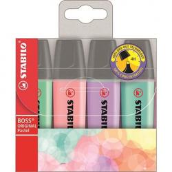 Zakreślacze Stabilo BOSS pastel komplet w etui - 4 kolory