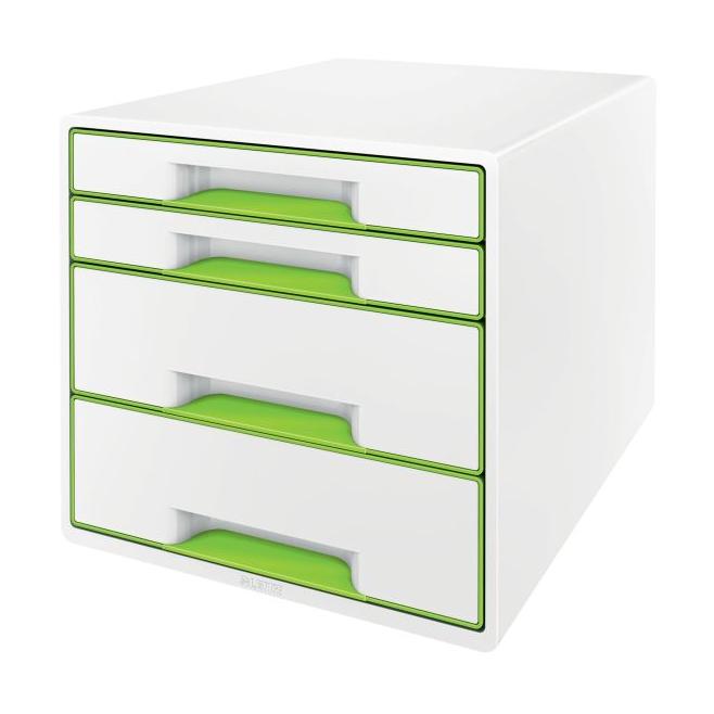 Pojemnik z 4 szufladami Leitz  WOW CUBE - biały/zielony