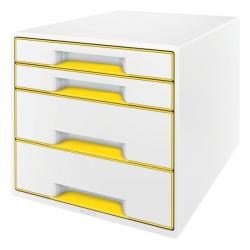 Pojemnik z szufladami Leitz WOW CUBE- żółty