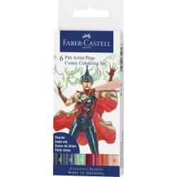 Pisaki artystyczne Faber-Castell - PITT ARTIST PEN B - Comic Colouring - 6 kolorów
