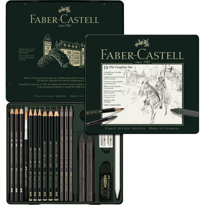 Zestaw ołówków i grafitów Faber-Castell Pitt Graphite - 19 elementów