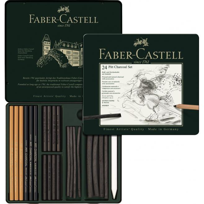 Zestaw ołówków i grafitów Faber-Castell Pitt Charcoal - 24 elementy