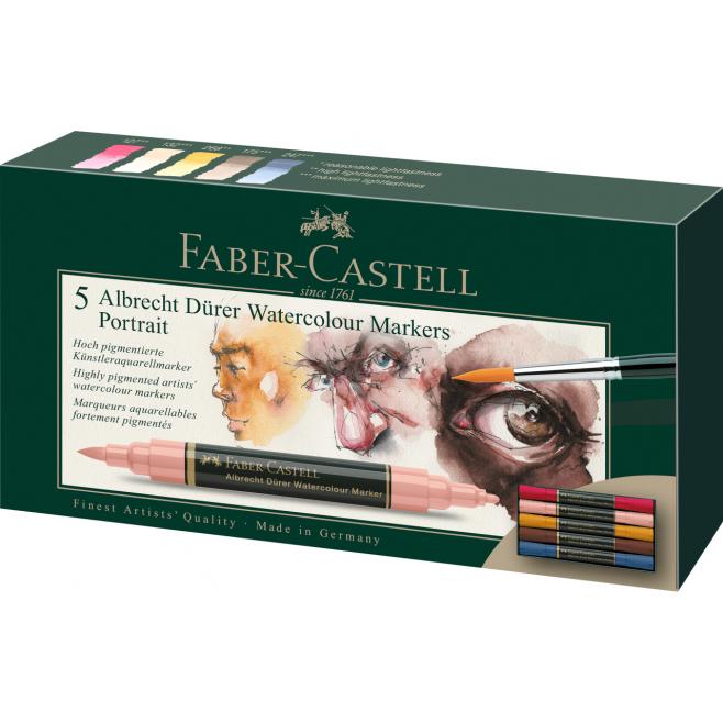 Pisaki akwarelowe dwustronne Faber Castell Albrecht Dürer - 5 kolorów Portrety