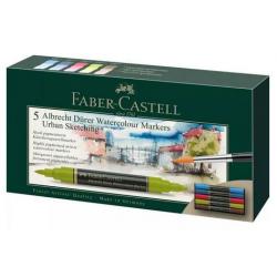 Pisaki akwarelowe dwustronne Faber Castell Albrecht Dürer - 5 kolorów Urban Sketching