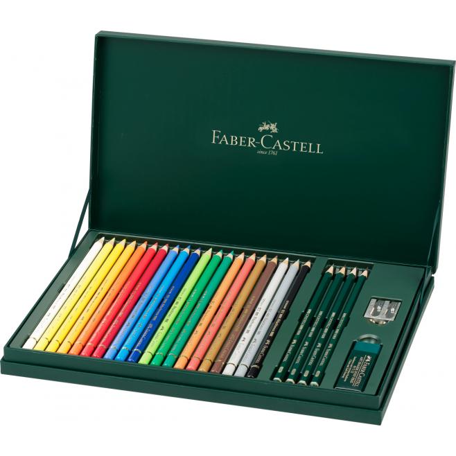 Kredki ołówkowe Faber-Castell Polychromos - 20 kolorów + akcesoria