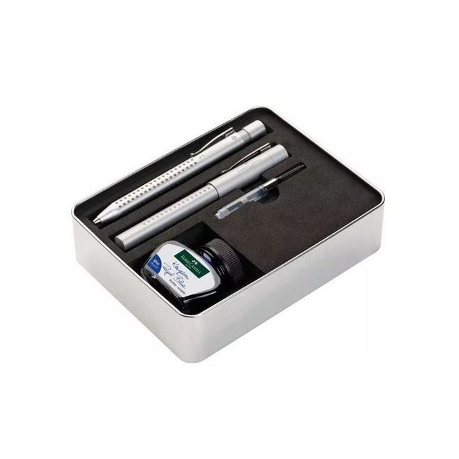 Pióro i długopis Faber Castell Grip 2011 + akcesoria -  kolor szary