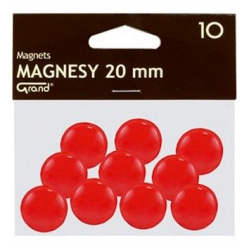 Magnesy 20mm Grand- czerwone, 10szt.
