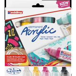 Markery akrylowe dwustronne Edding 5400 Basic  - 5 kolorów