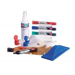 Zestaw akcesoriów Nobo do tablic suchościeralnych/4 markery, magnesy, chusteczki, gąbka, spray, pojemnik