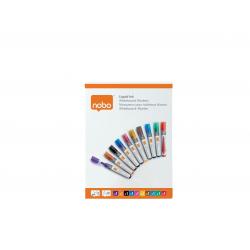 Markery suchościeralne Nobo Liquid Ink, mix kolorów/10szt.