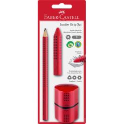 Ołówek JUMBO GRIP + gumka + temperówka - czerwony