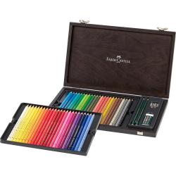 Kredki ołówkowe Faber-Castell Polychromos - 48 kolorów + akcesoria/ drewniana kaseta