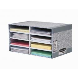 Pojemnik na dokumenty, sorter biurkowy Fellowes Bankers Box biało-szary 8 przegródek