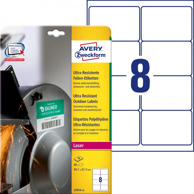 Etykiety polietylenowe ultra resistant A4 - 99,1x67,7mm Avery Zweckform / 10 ark