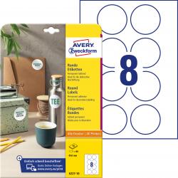 Trwałe etykiety białe A4 Avery Zweckform  okrągłe - Ø65 mm / 10 ark