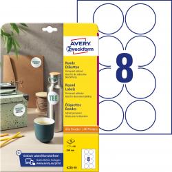Trwałe etykiety białe A4 Avery Zweckform  okrągłe - Ø69 mm / 10 ark