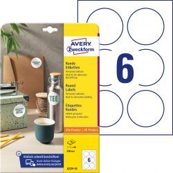 Trwałe etykiety białe A4 Avery Zweckform  okrągłe - Ø80 mm / 10 ark